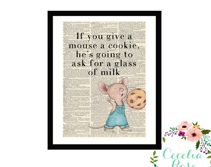 If You Give A Mouse A Cookie Children's Typography Farmhouse Vintage Book Page Art Box Frame or Print
