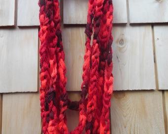 "282"" Cinnamon Candy Chain Scarf, scarf, chain, crocheted, cinnamon, red,"
