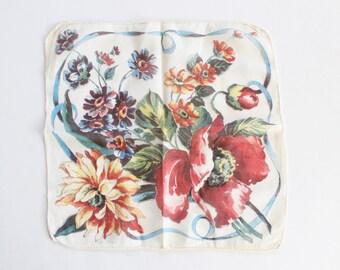 Vintage 1950s Flower Bouquet Handkerchief