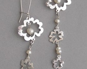Flower Power sterling silver and pearl earrings
