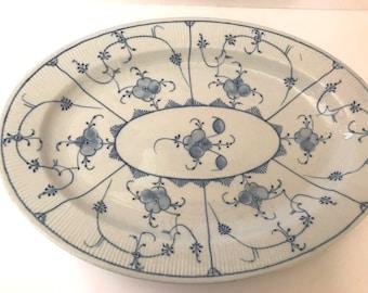 "Vintage Blue and White Meissen Finlandia Style Platter- 13 1/2"" X 10"""