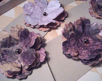 Romantic Flower - Set of 5 (FIVE) 3D Flower Tags - Purple, Peach and Tan