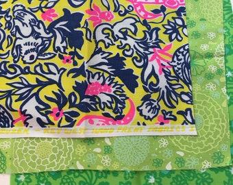 "3 piece Lot Bunnies Floral Vintage Zuzek Key West Hand Print Lilly Pulitzer Fabric 8.75"" Square M29-L2"