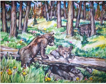 BEAR CUBS -painting original landscape watercolor one-of-a-kind OOAK 11x15,Animal, Bear painting, Bear cubs, Forest, Northwoods, Wilderness