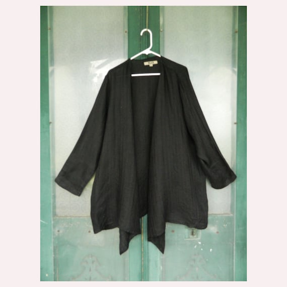 FLAX Engelheart Long Open Front Jacket -L- Black Herringbone Linen