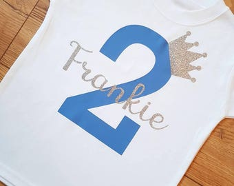 Personalised Boys number Birthday T-shirt or Bodysuit (vest) 1-10 years. Other colours