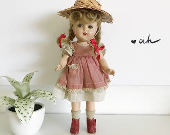 "Vintage 1930 Madame Alexander McGuffey Ana Composition Doll, Red Gingham Dress, Straw Hat, 13"" Doll"