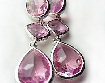 Lavender Earrings Teardrop Glass Earrings Diamond Pink Earrings Amethyst Purple Earrings Gift for her Drop Earrings Silver Evening Jewelry