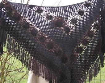 Black shawl crocheted by hand