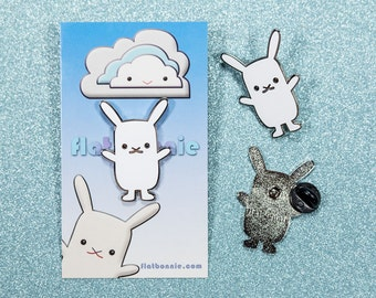 Easter bunny enamel pin, Rabbit pin enamel pin, Animal lover gift, Easter basket gift, Kawaii Japan usagi conejo lapin hare, Flat Bonnie