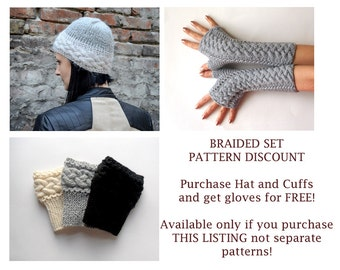 KNITTING PATTERN SET - Braided Set Braided Hat Fingerless Gloves Braids Boot Cuffs - Purchase 2 patterns, get gloves for free Pdf