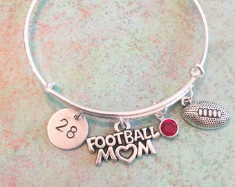 football mom bracelet, Mom gift, mother bracelet, silver bangle, personalized bangle, personalized bracelet, mom, swarovski crysta