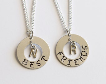 Best Friend Gift Personalized Necklace Best Friend Necklace Hand Metal Stamped Best Friend Jewlery Best Friend Birthday Gift, BFF Gift