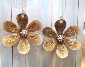 Yellow Flower Earrings, Brass Earrings, Flower Earrings