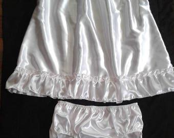 ABDL Adult Baby Sissy WHITE SATIN Dress & Panties Set Crossdresser Cosplay Anime