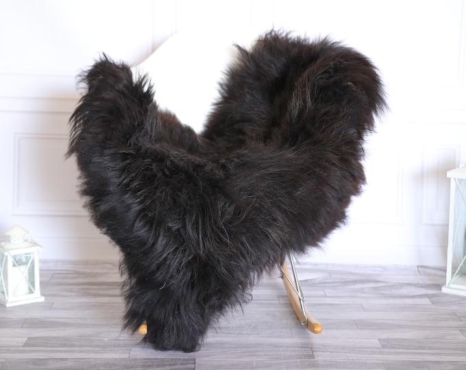 Icelandic Sheepskin | Real Sheepskin Rug |  Super Large Sheepskin Rug Brown Black | Fur Rug | Homedecor #KOWISL24