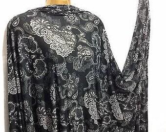 Stretch Viscose Jersey Black Burnout Paisley Dress/Craft/Abaya Fabric