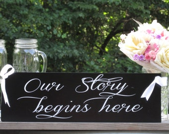 "Our Story Begins Here"" © / Ring Bearer Flower Girl Sign / Painted Solid Wood / Wedding Sign"