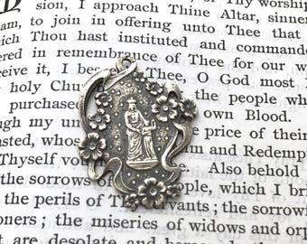 St. Anne and Child Mary Medal - White Bronze, Bronze, or Sterling Silver - St. Anne Medal - Religious Medal - Saint Medal  (M-996)
