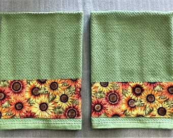 SUNFLOWERS FABRIC STRIP Towel, decorative towel, dish towel, hand towel, sunflower lover gift, Mother's day gift, #sunflower, green, flower