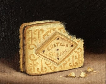 Custard cream biscuit #3 Small Original Oil Painting still life by Jane Palmer