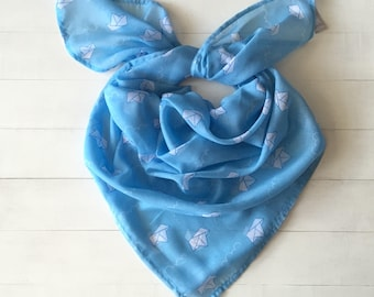 SALE, Mothers day gift, Paper boat print, paper boats scarf, blue scarf, paper boat gift, Gift under 10, Mothers day gift, Unique scarf gift