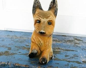 Vintage Chalk Dog Carnival Prize Chalkware French Bulldog Beret