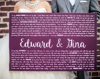 Valentines Day Gift for Him, Wedding Vows on Canvas