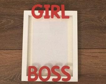 Handmade wood GIRL BOSS photo frame