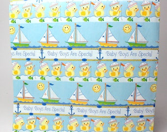 "Vintage Baby Boy Gift Wrap Paper by Hallmark - 1 sheet (20"" x 30) - Shower Birthday Party Blue Sailboats Yellow Ducks All Occasion Sailing"