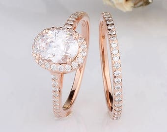 Rose Gold Oval CZ Halo Wedding Rings Set / Halo Engagement Anniversary Rings Set / Sterling Silver Rings Rose Gold Plated Set