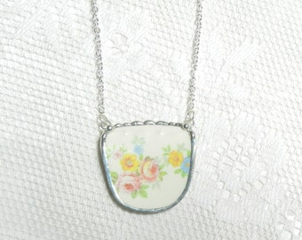 Broken China Jewelry Necklace Pink Rose