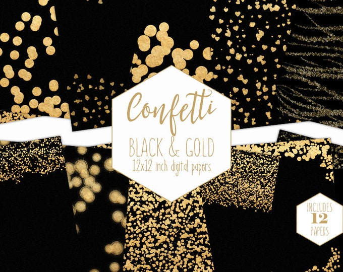 GOLD CONFETTI Digital Paper Pack Black & Metallic Gold Backgrounds Dot Border Scrapbook Papers Heart Patterns Party Printable Commercial Use