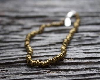 Brass link chain bracelet, brass beaded bracelet, brass link chain bracelet, sterling silver bracelet, stacking bracelet, brass bracelet