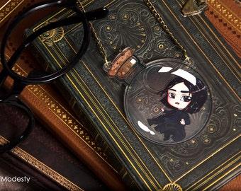 Severus Snape chibi fanart necklace - cute double sided professor snape in potions bottle hogwarts harry potter