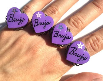 CLEARANCE! Brujx/a (Witch) Star Adjustable Heart Ring (Choose Color & Style)
