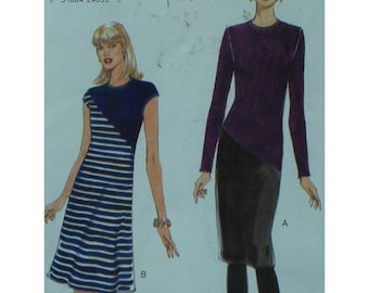 Pullover Knit Dress Pattern, Color Block, Straight/A-line Skirt, Diagonal Seam, Long/Cap Sleeves, Vogue No. 9584 UNCUT Size 6 8 10