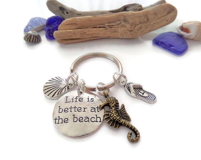 Life's better at the beach gift, beach keyring, sea keyring, sea keepsake, sea jewellery, sea gift, beach gift, seahorse gift, flip flops