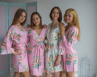 Premium Pink Bridesmaids Robes - Dreamy Angel Song Pattern - Soft Rayon Fabric - Better Design - Perfect for getting ready on your big day