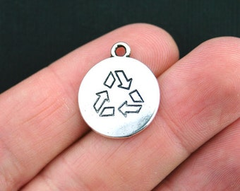 5 Recycle Charms Antique Silver Tone 2 Sided - SC3655