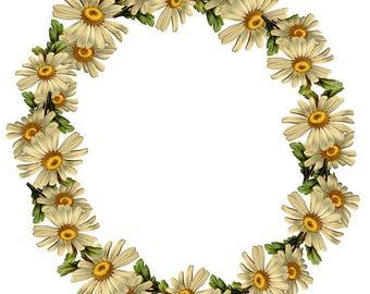 Daisy Clipart Vintage Flowers Daisy Wreath  Floral Wreath Yellow White Clipart Vintage Clipart