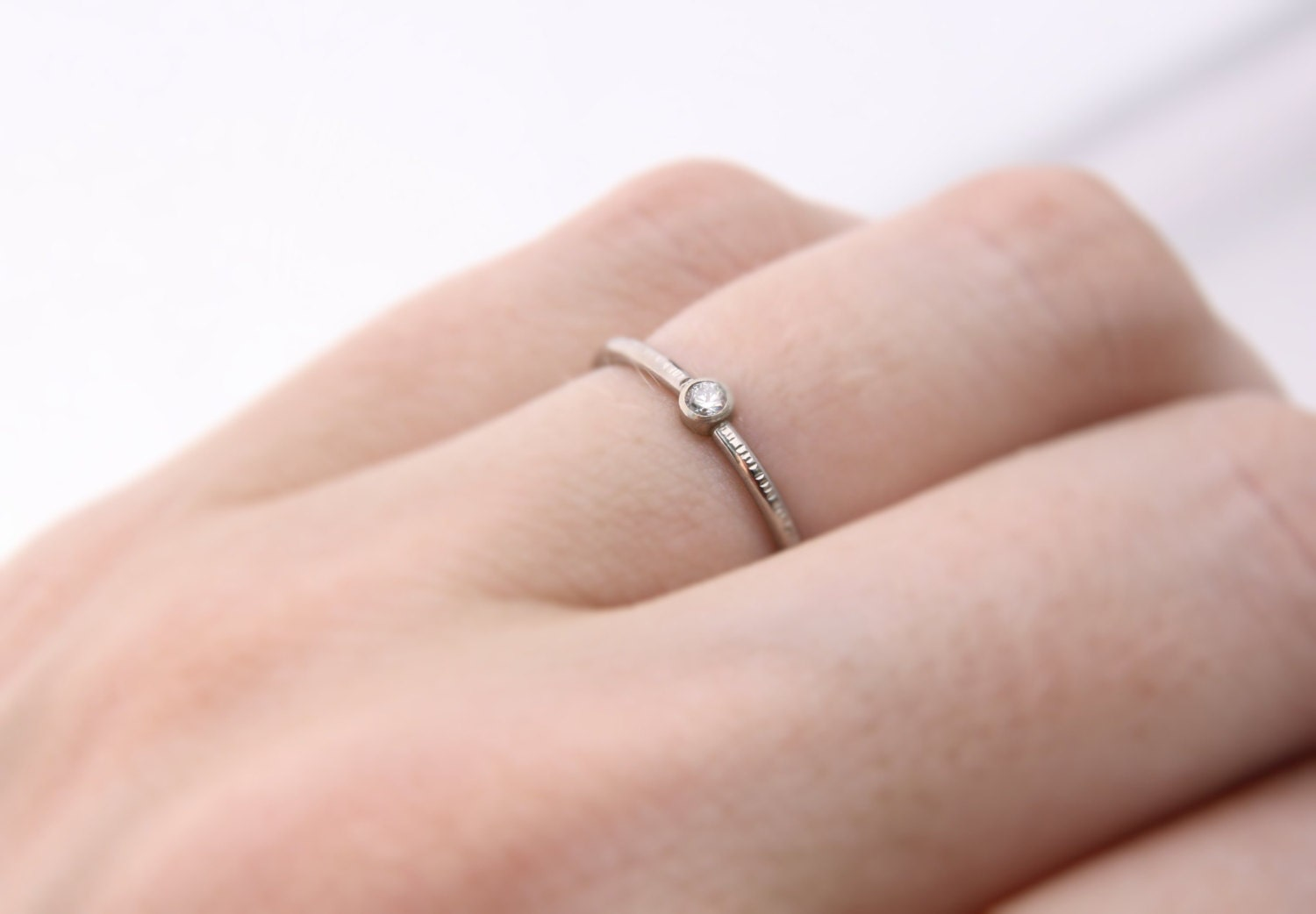 petite diamond ring 14k gold diamond solitaire stacking