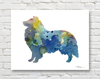 Blue Sheltie Art Print - Abstract Shetland Sheepdog Watercolor Painting - Wall Decor