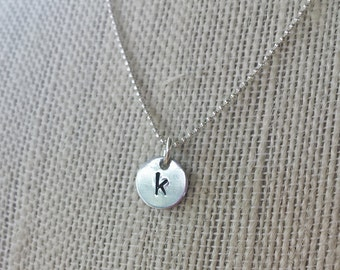 hand stamped personalized initial necklace silver and aluminum hand stamped necklace initial necklace mothers necklace everyday jewelry