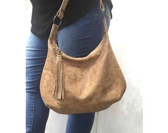 Distressed leather hobo bag, blonde genuine leather, smal leather hobo, mesa Arizona print lining, zippered hobo purse, handmade USA