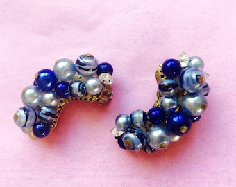 Vintage 60's Cluster Bead Climber Clip On Earrings Shades of Blue Faux Pearl