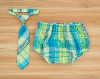 Baby Boy Outfit: Lime Green Plaid Baby Neck Tie and Diaper Cover Clothing - Perfect for Spring or Cake Smash Photos