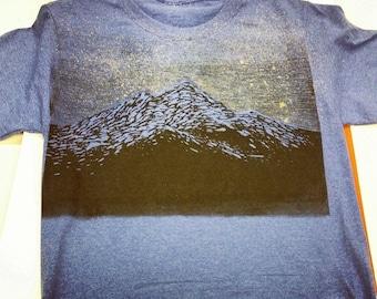 Wood block print Tee - Mountain top