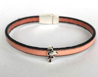 Salmon Leather Charm Bracelet