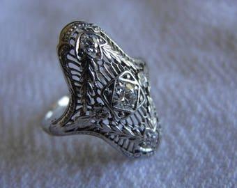 Save 10% Antique art deco 18k white gold diamond ring size 5.75